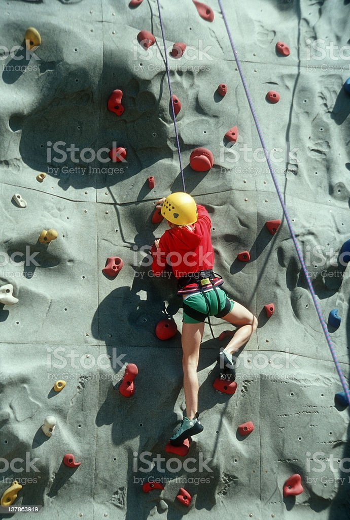 Girl Rock Climbing royalty-free stock photo