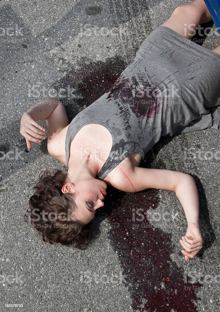 Girl Run Over By Automobile stock photo