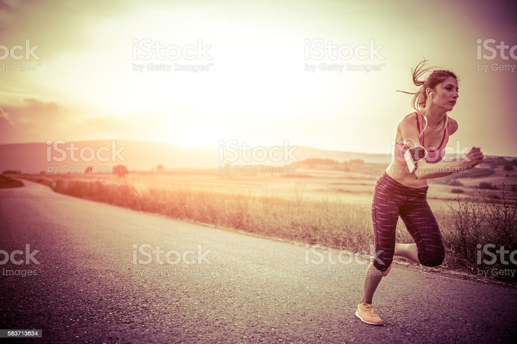 Girl runinng stock photo