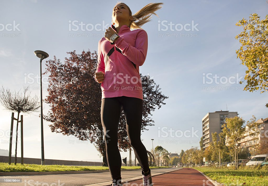 girl running on the city royalty-free stock photo