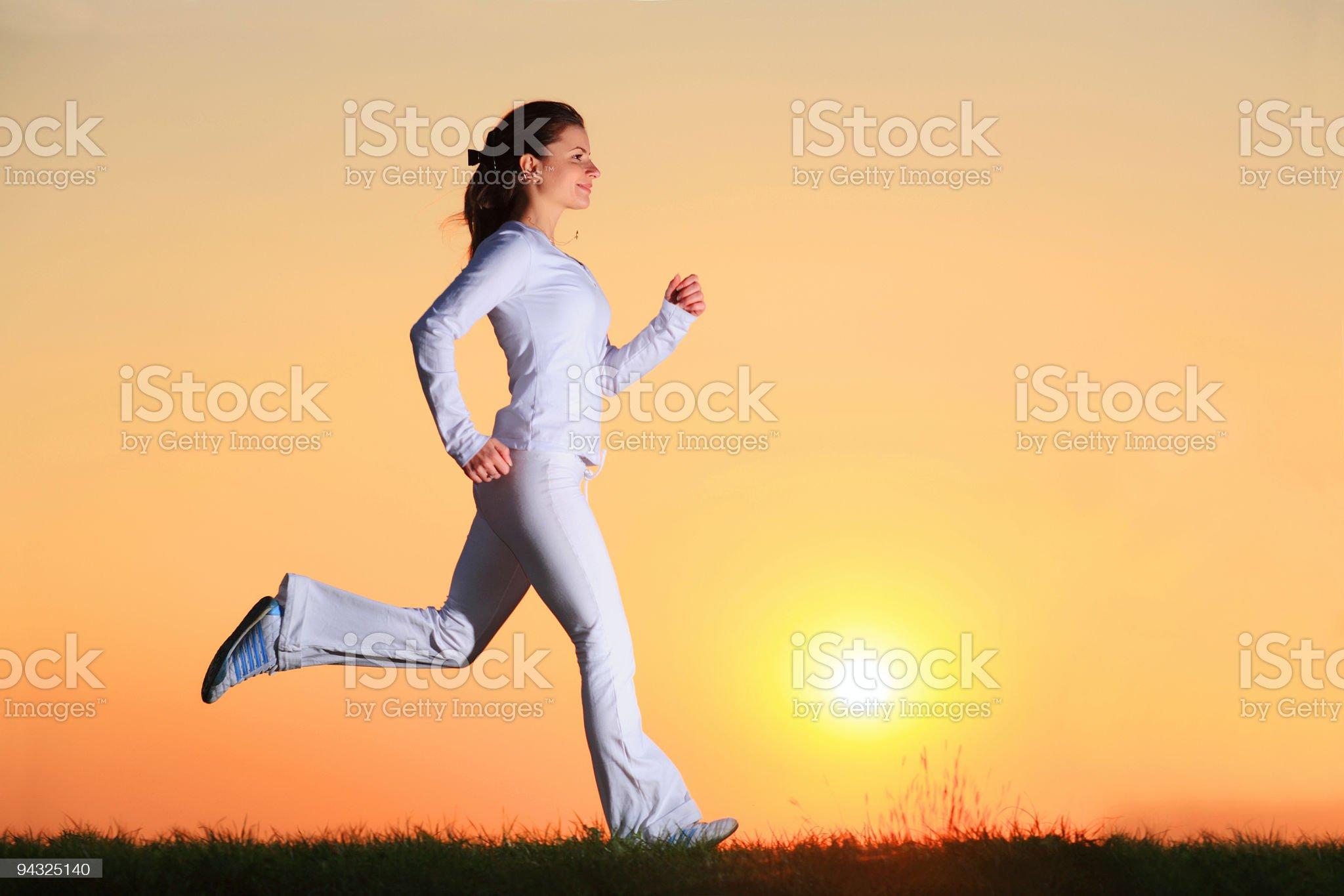 Girl running outdoor royalty-free stock photo