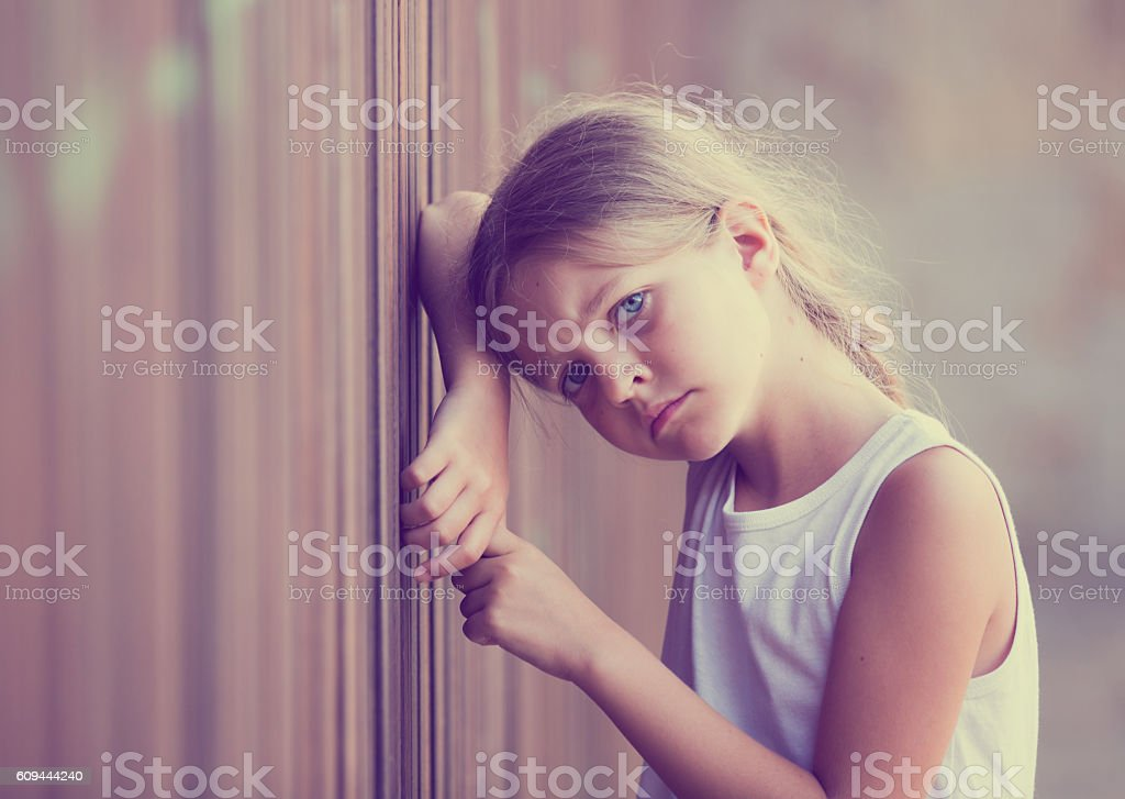 girl sad portrait stock photo