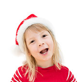 girl santa claus hat isolated