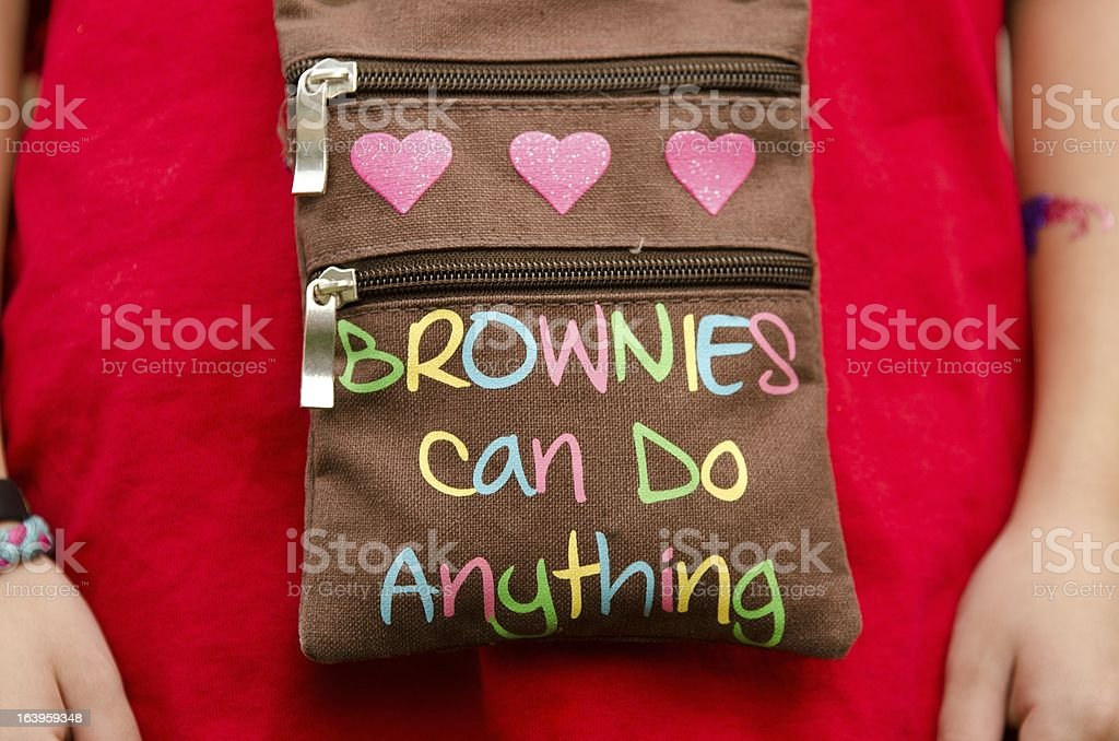 girl scout bag stock photo