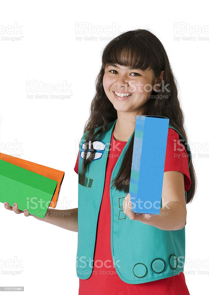 Girl Scout Selling Cookies stock photo