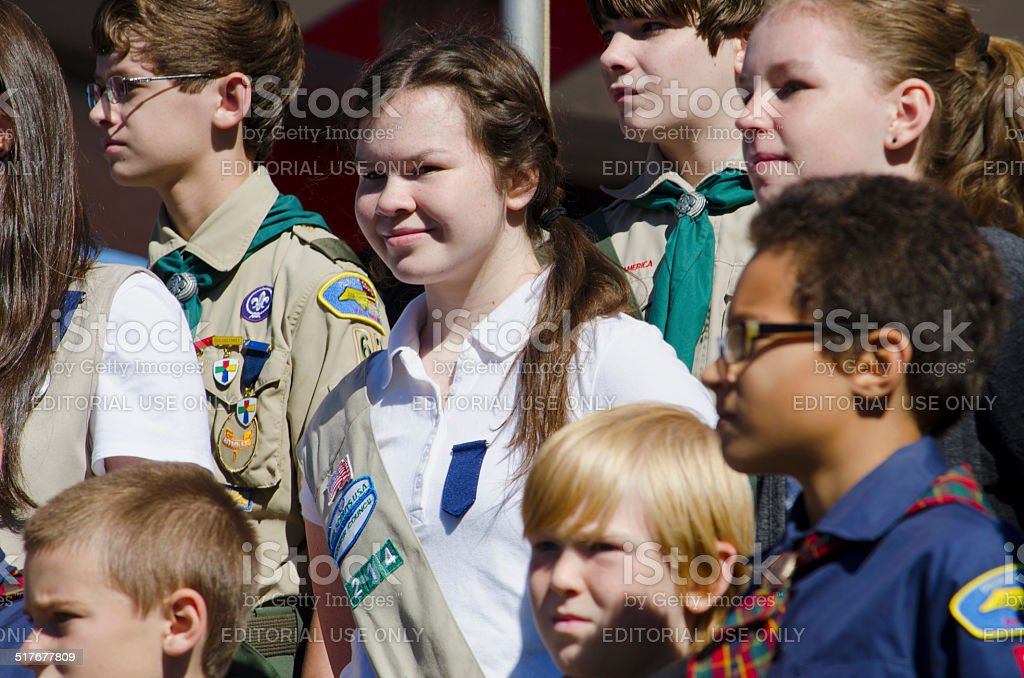 Girl Scouts and Boy Scouts stock photo