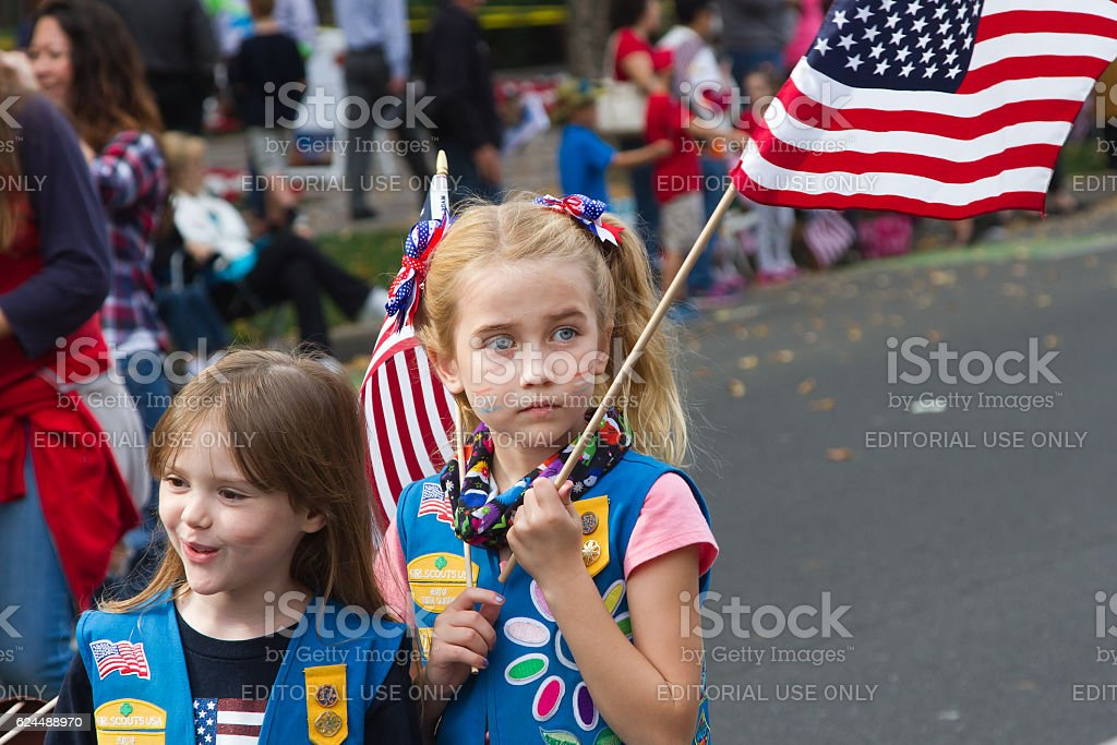 Girl Scouts Supporting Veterans stock photo