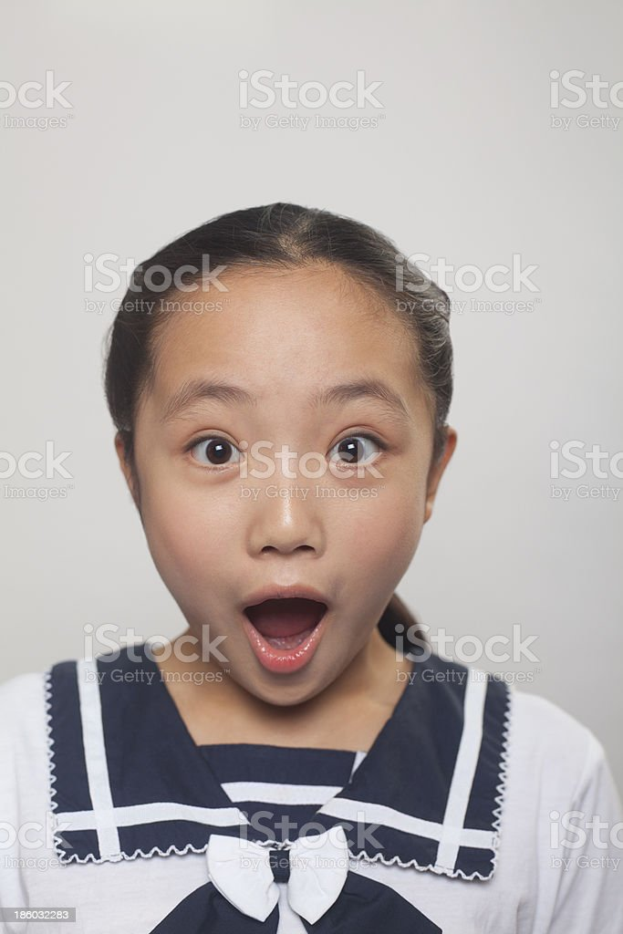 Girl screaming, Studio royalty-free stock photo