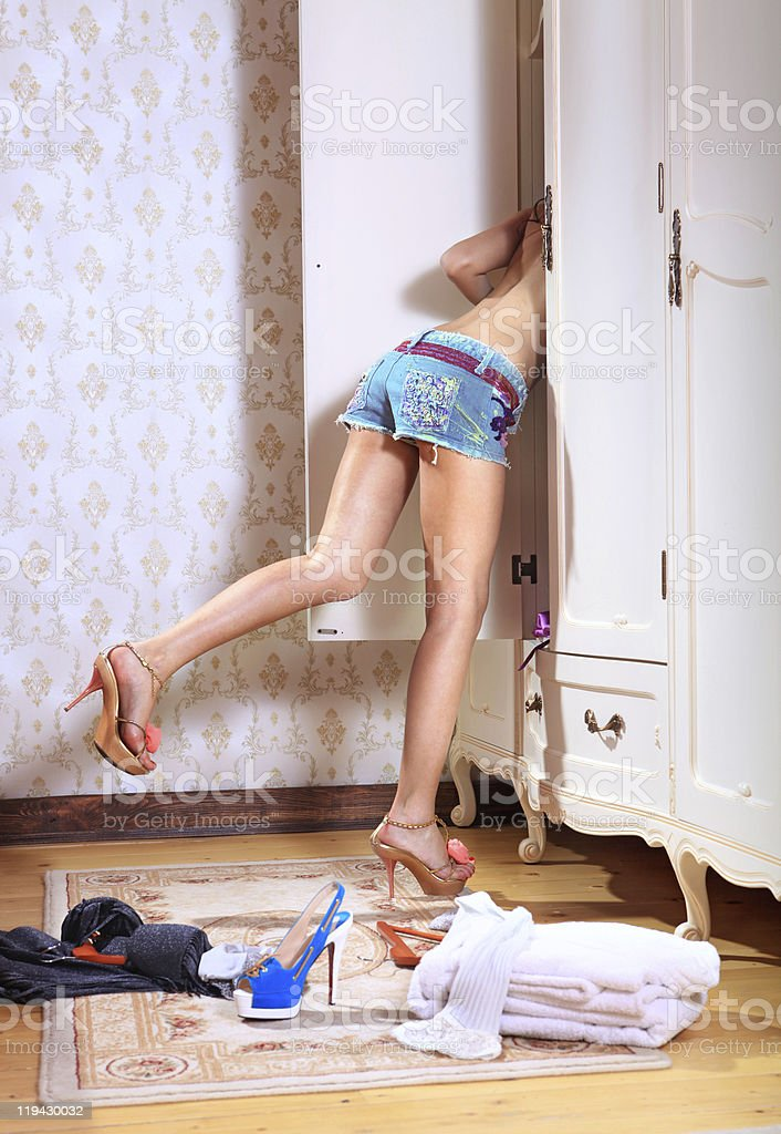girl searches thing royalty-free stock photo