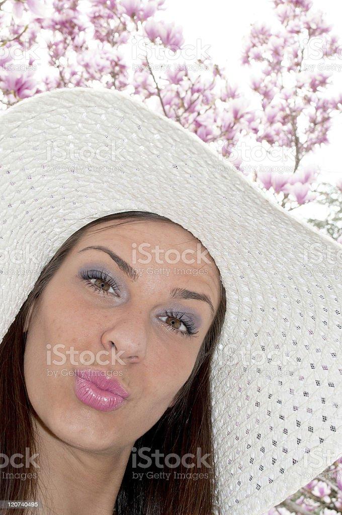 Girl sends kiss royalty-free stock photo