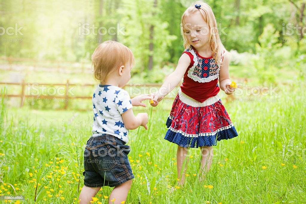 Girl Sharing Flowers With Little Brother stock photo