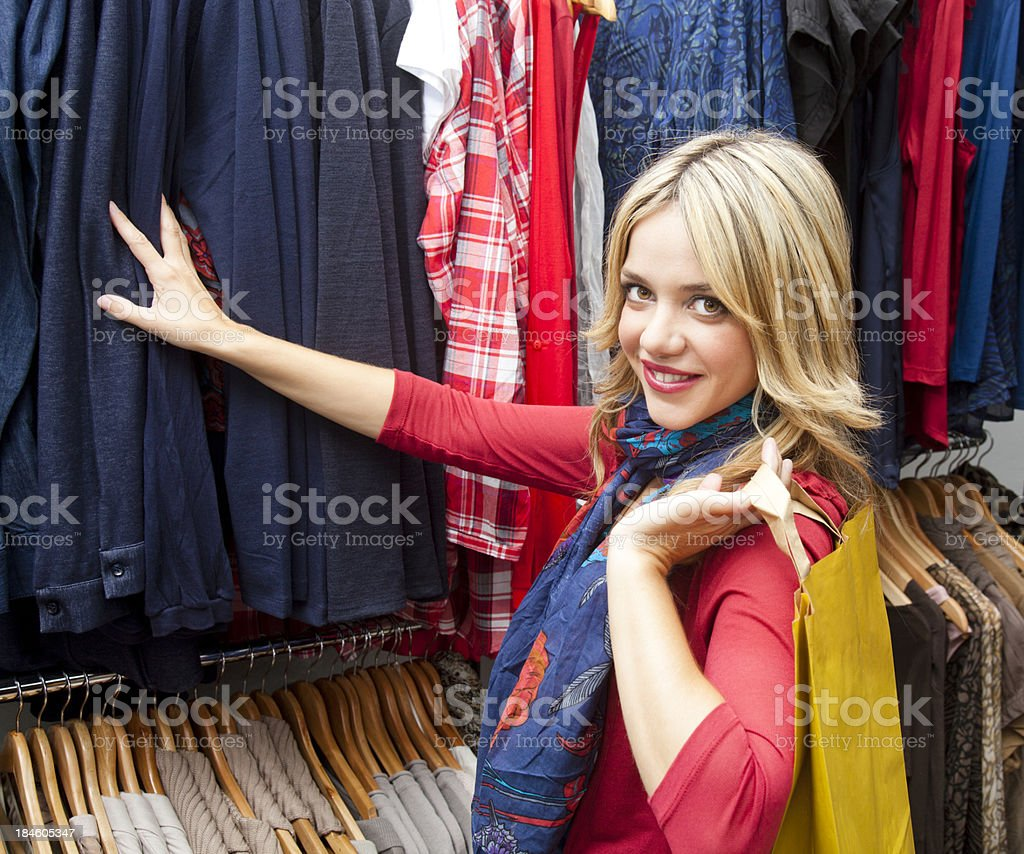 Girl shopping clothes royalty-free stock photo