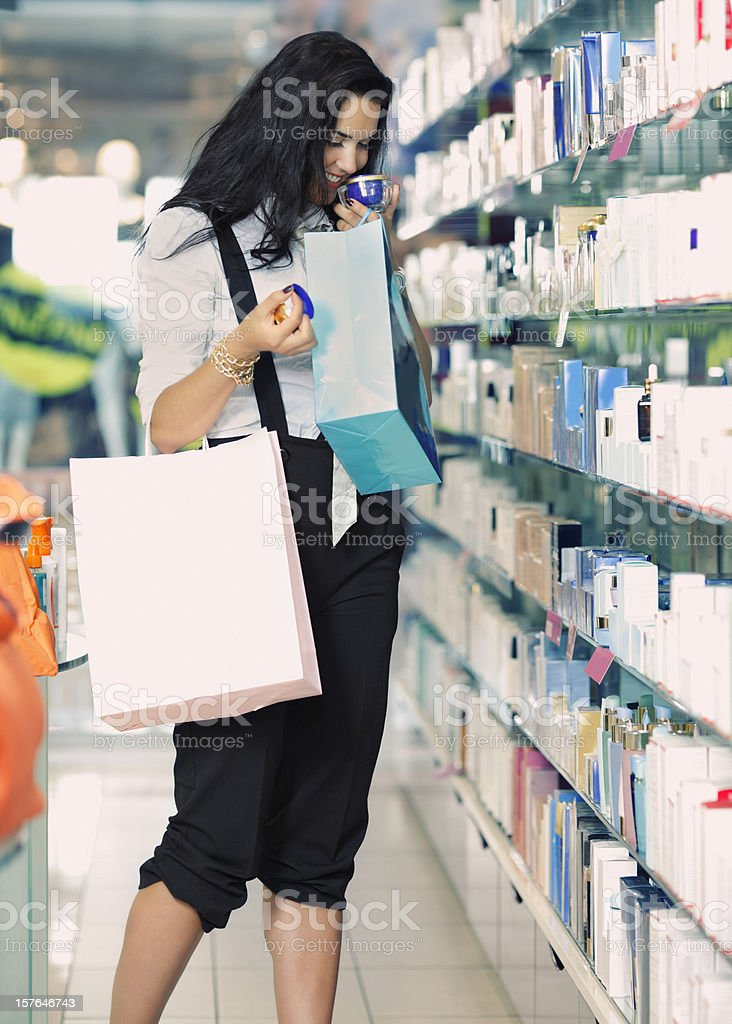 girl shopping  cosmetics stock photo