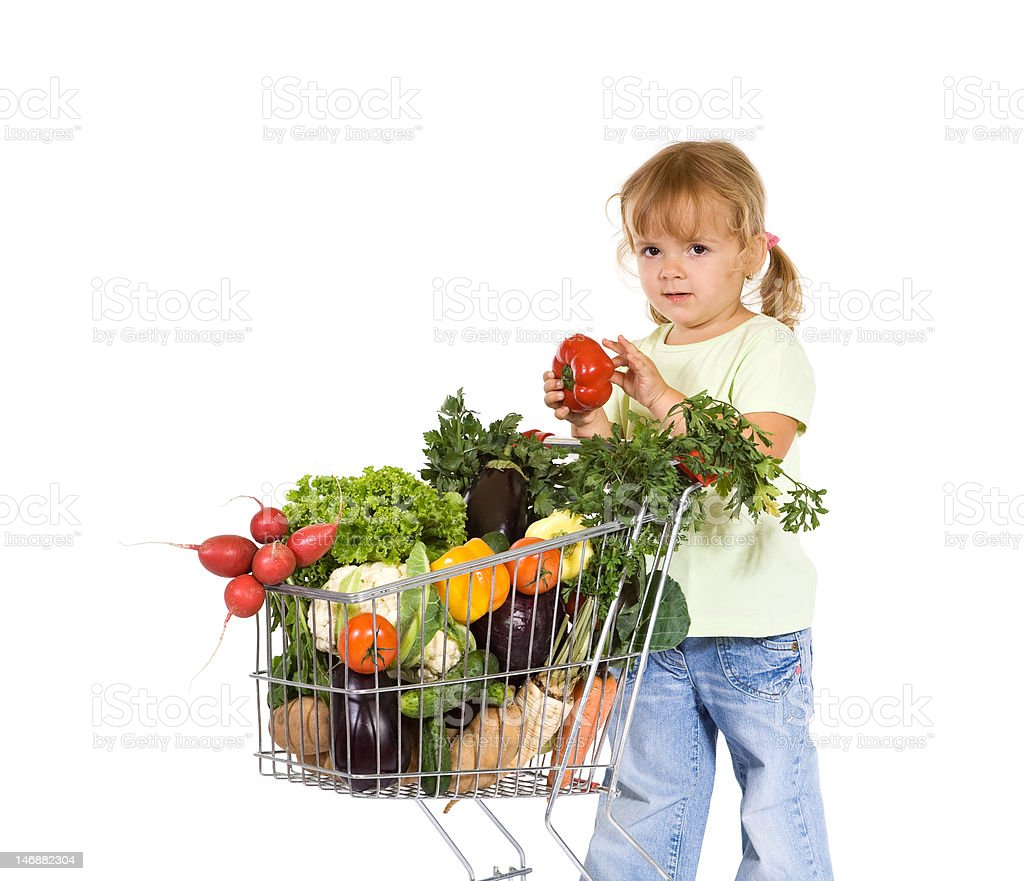Girl shopping for healthy food royalty-free stock photo
