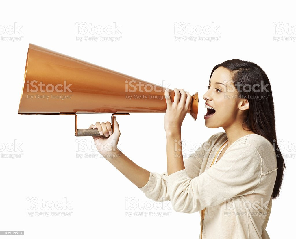 Girl Shouting Through a Megaphone  - Isolated royalty-free stock photo