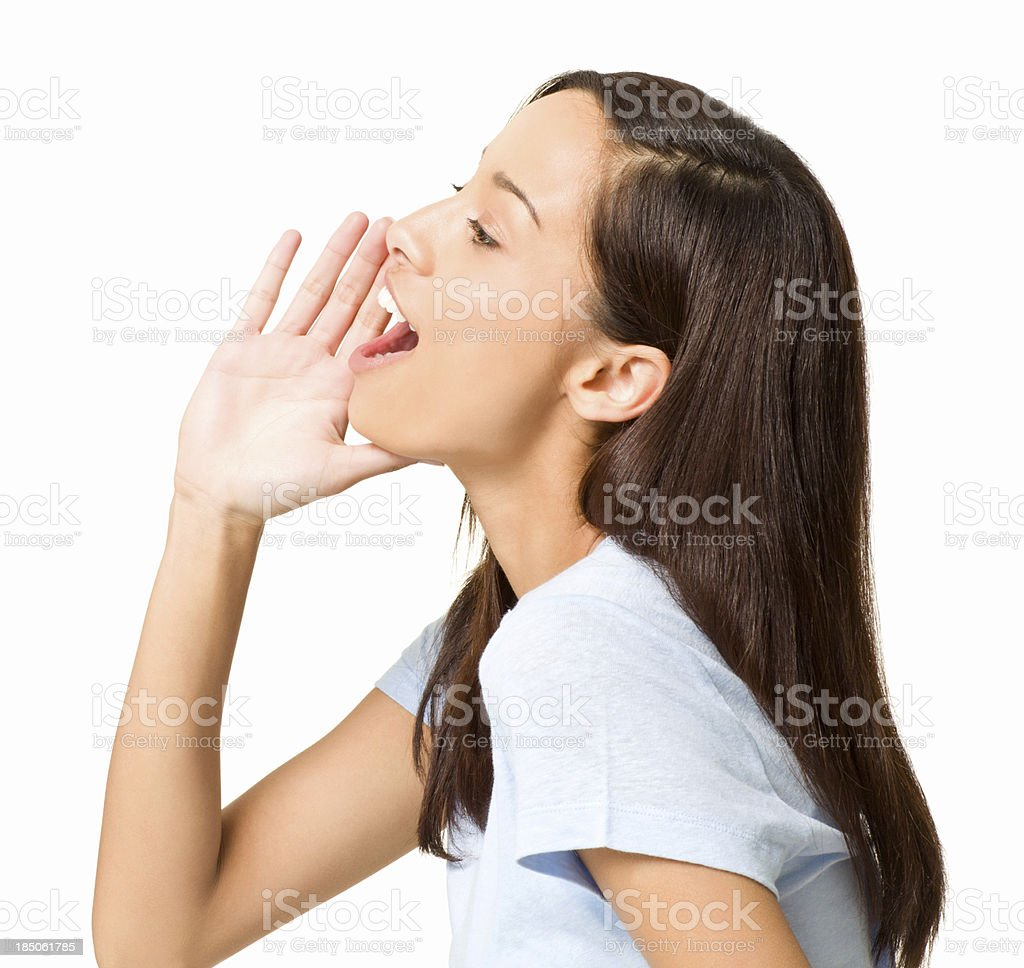 Girl Shouting to the Side - Isolated royalty-free stock photo