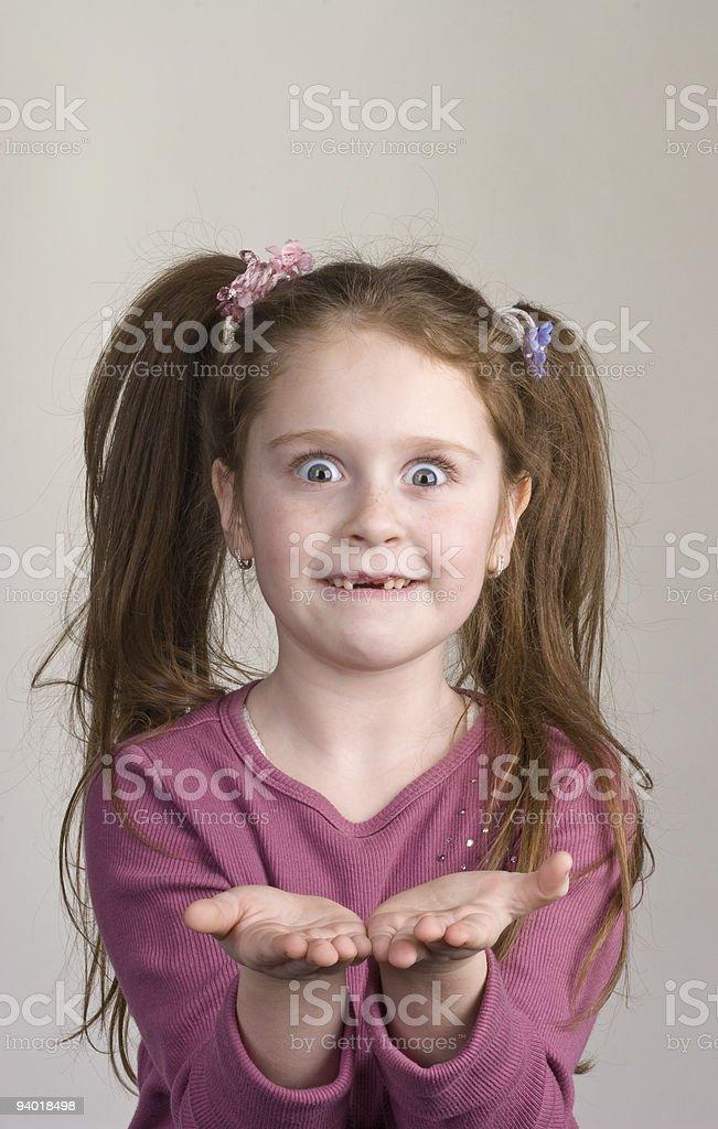 girl show something on palms royalty-free stock photo
