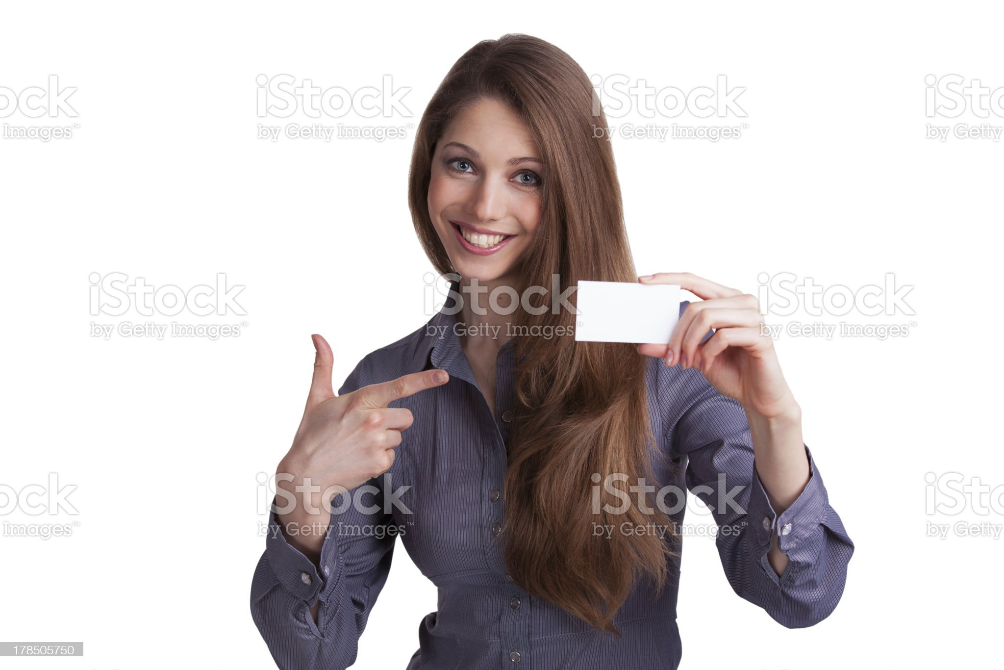 Girl showing a business card in hand royalty-free stock photo