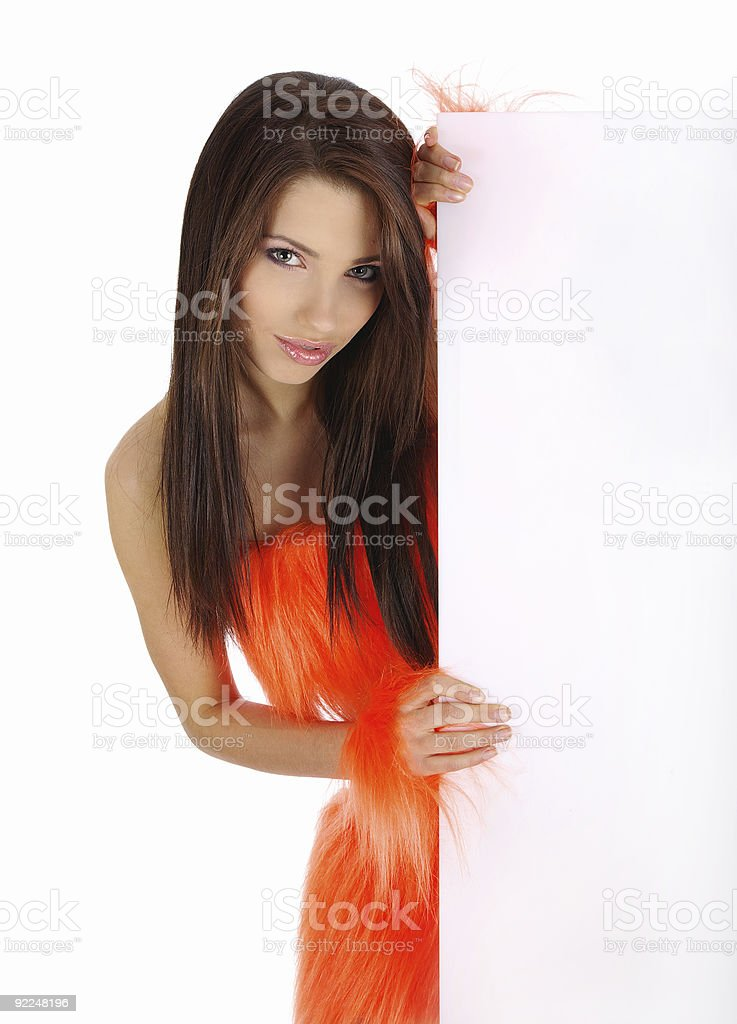 girl showing a white banner royalty-free stock photo