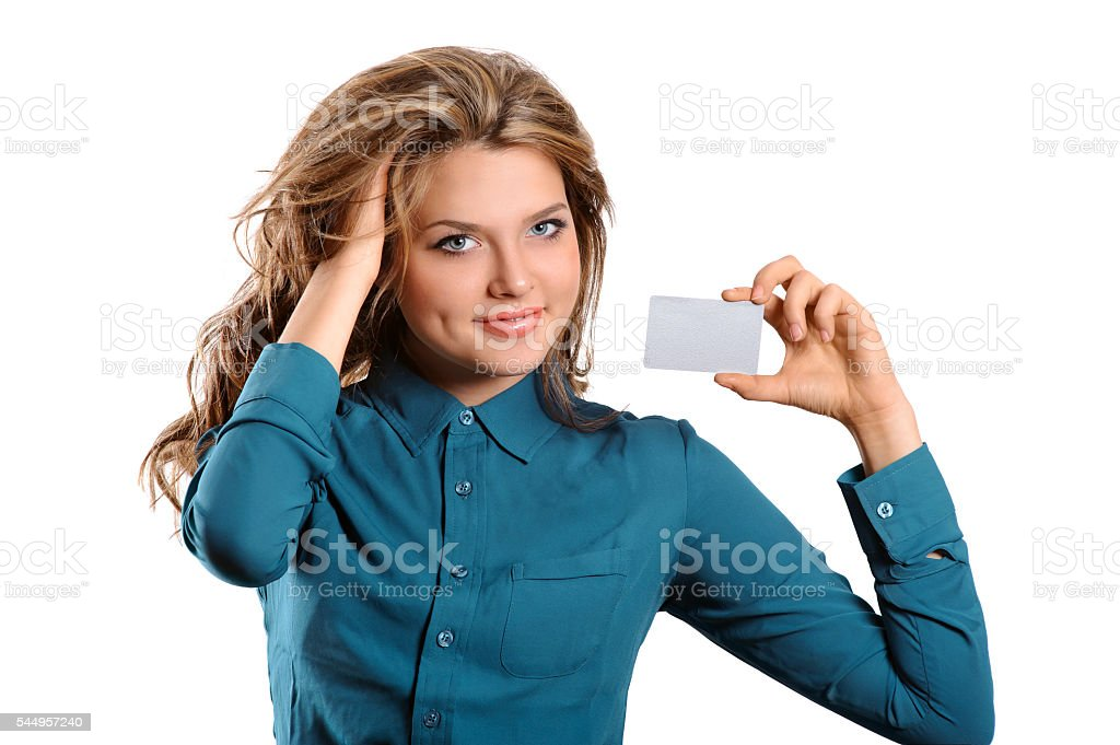 girl showing credit card in hand stock photo