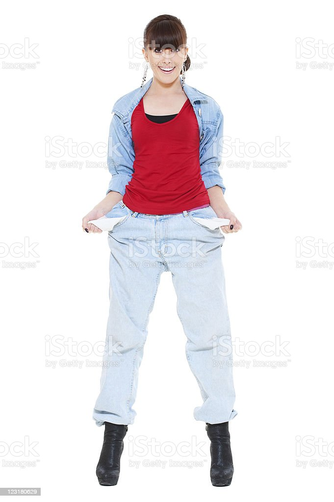 girl showing empty pockets stock photo