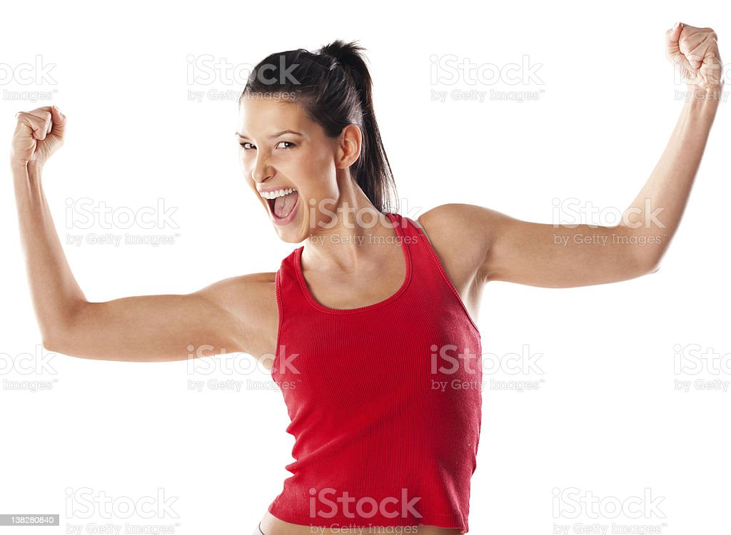 Girl showing muscles and screaming stock photo