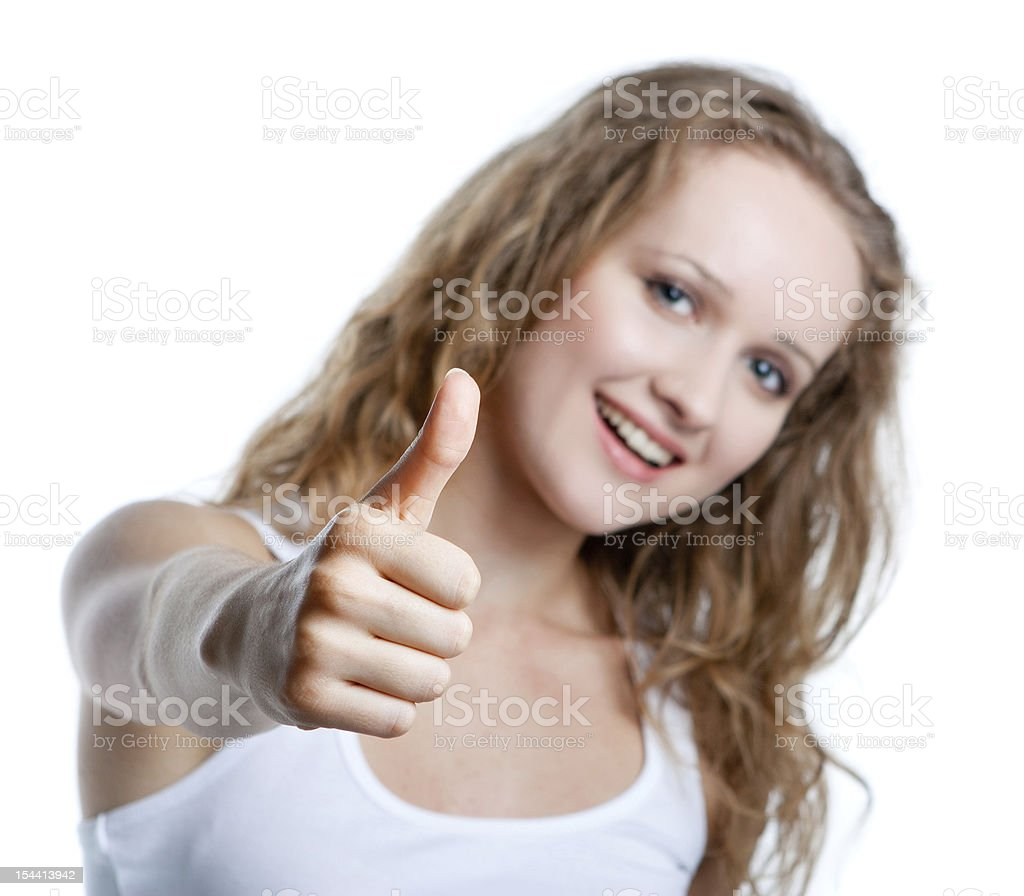 girl shows her finger up royalty-free stock photo