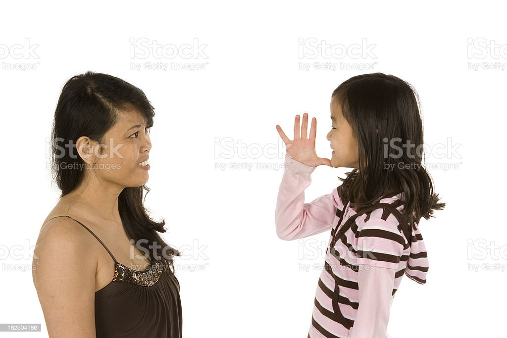 Girl signs mother to her Mom royalty-free stock photo