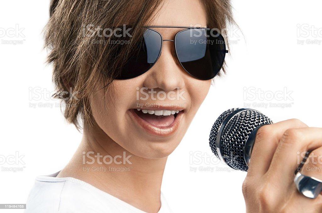 Girl Singing on white background stock photo