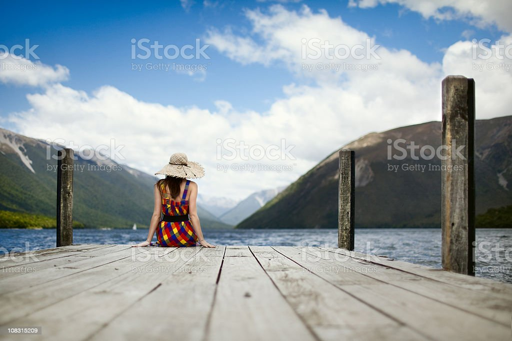 Girl sitting alone royalty-free stock photo