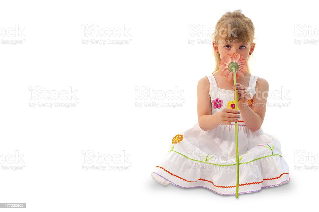 Girl sitting on ground with Flower royalty-free stock photo