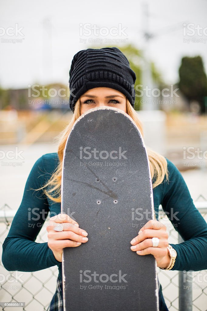 Girl Skateboarder stock photo