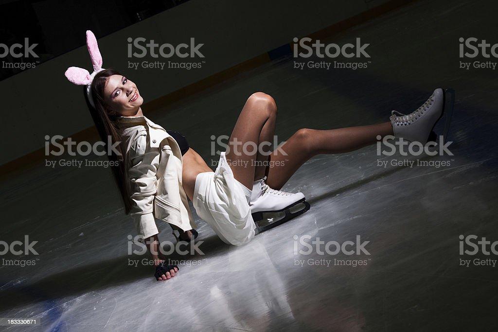 Girl skating in the winter stock photo