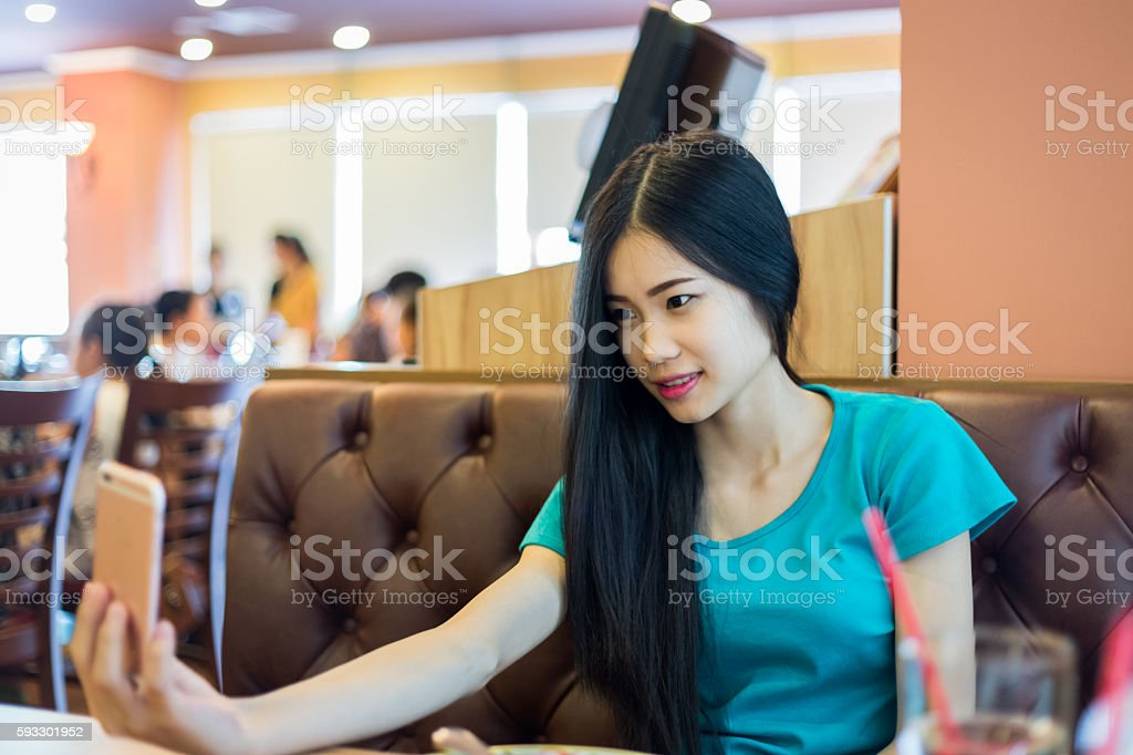 Girl Smile Selfie Smartphone stock photo