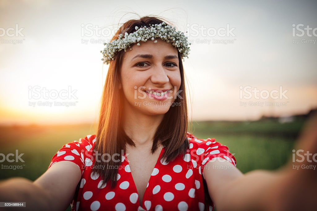 Girl smiling for you stock photo