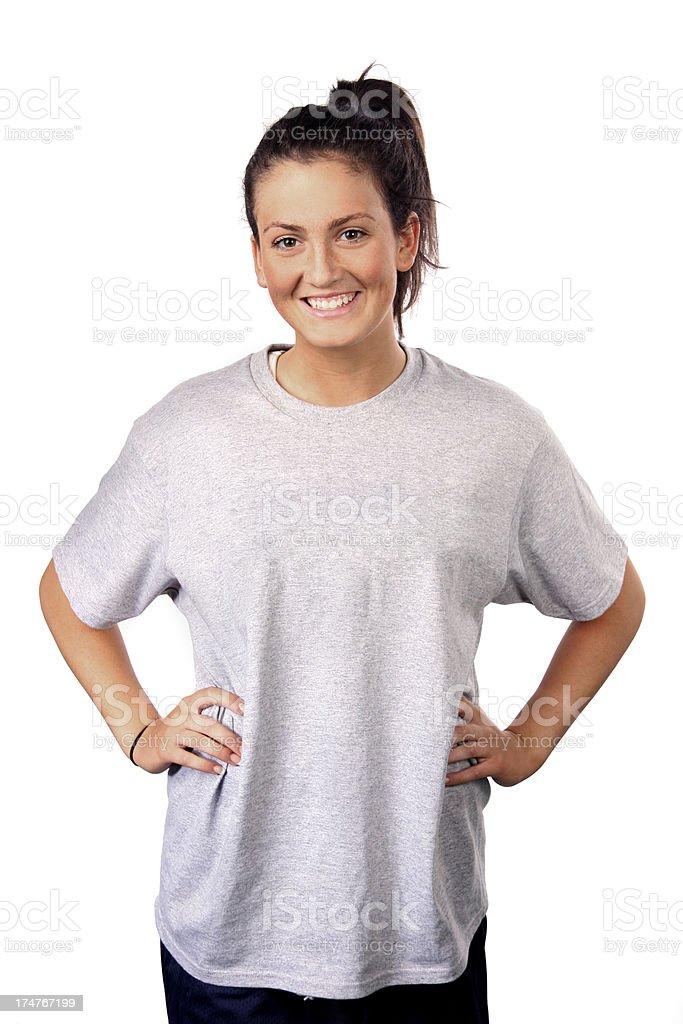 girl smiling in tshirt stock photo