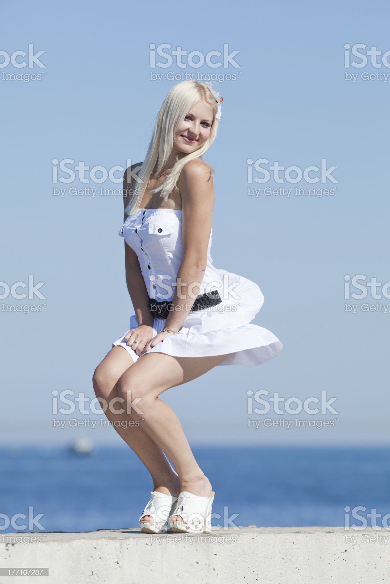 Girl smiling on open air royalty-free stock photo