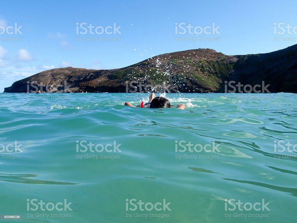 Girl snorkeling royalty-free stock photo