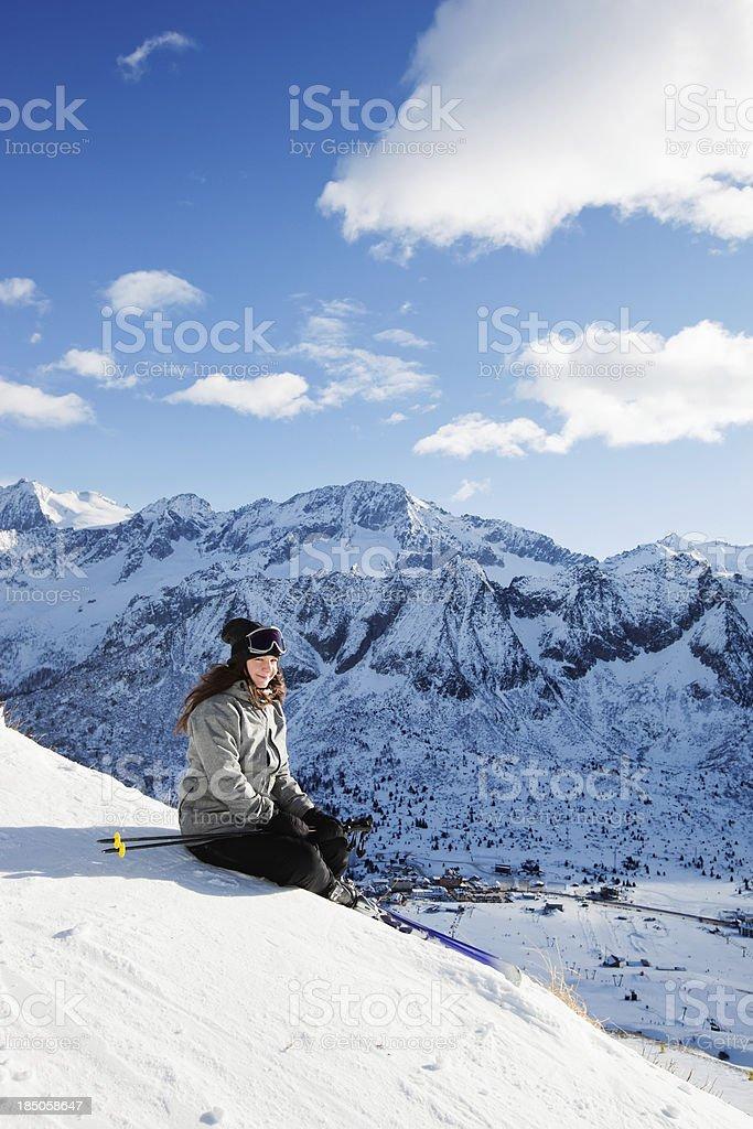 Girl snow skier on ski vacation stock photo