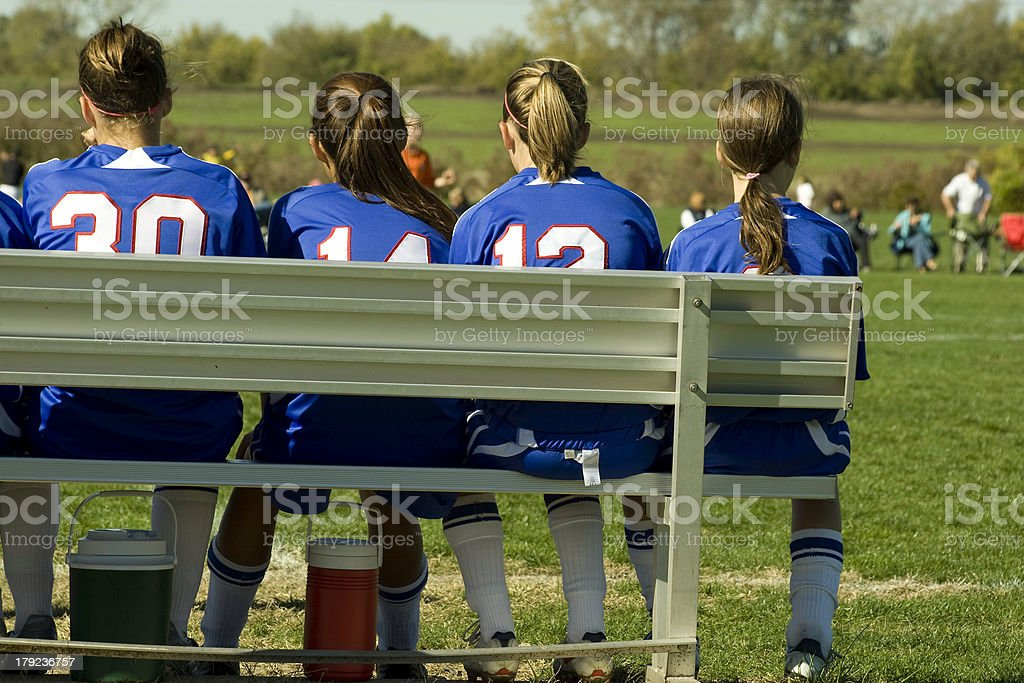 Girl Soccer Players on the Bench royalty-free stock photo