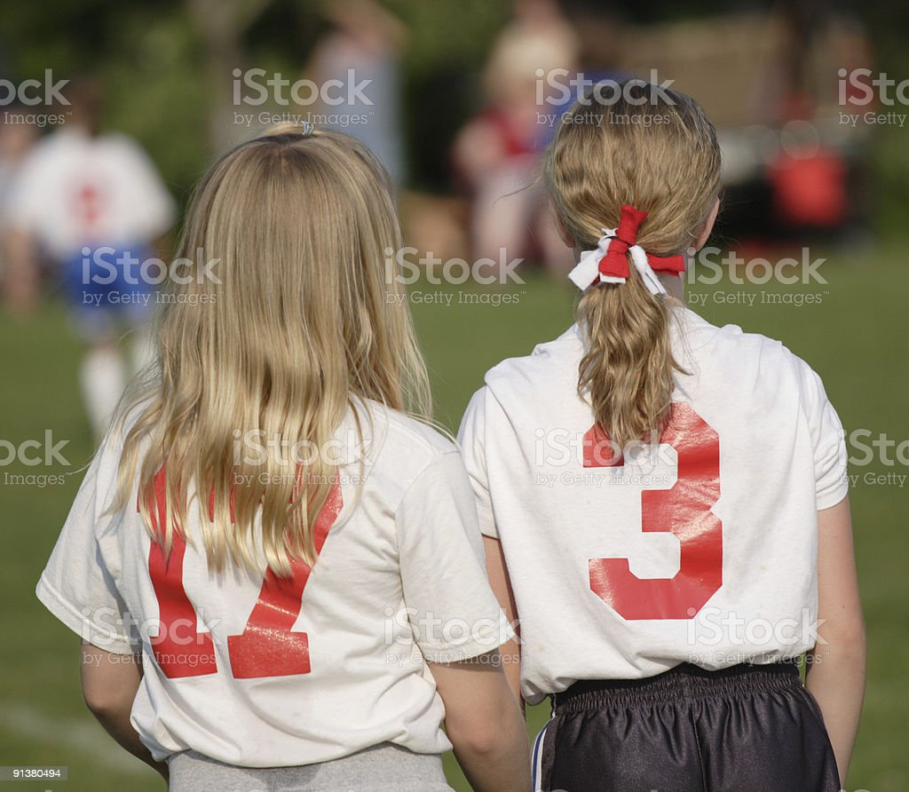 Girl Soccer Team Players at Sidelines