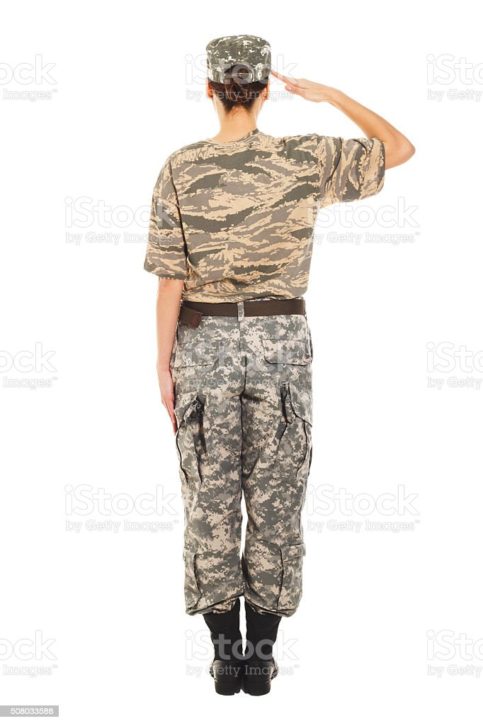 Girl - soldier in the military uniform stock photo