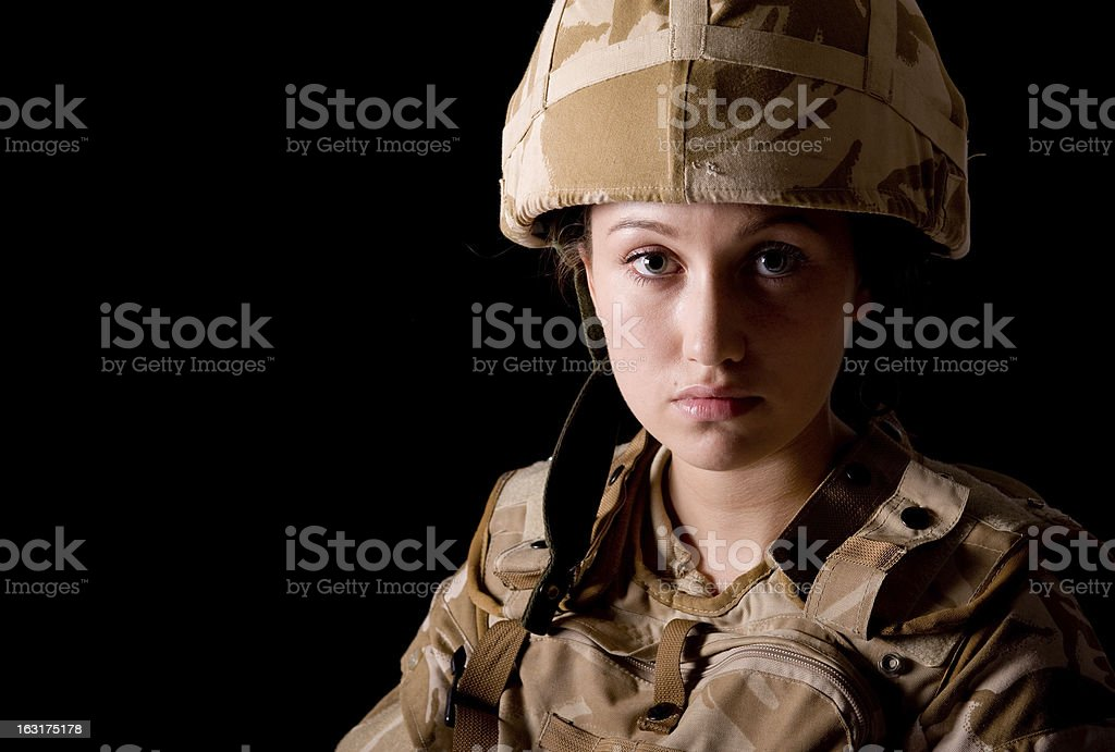 Girl Soldier stock photo