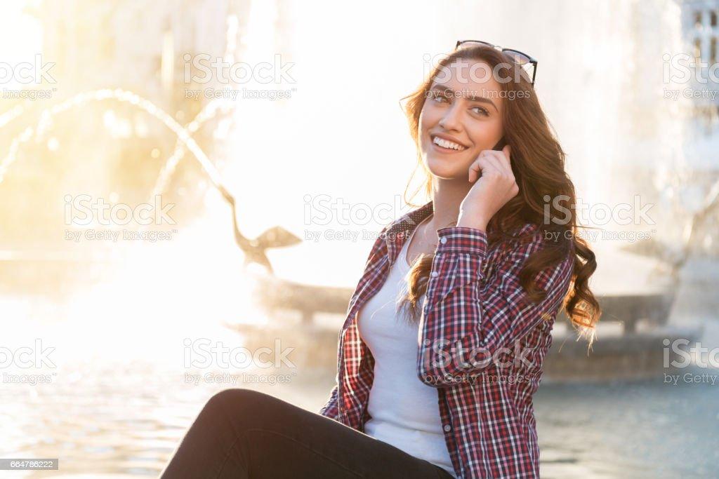 girl speaks by phone. stock photo