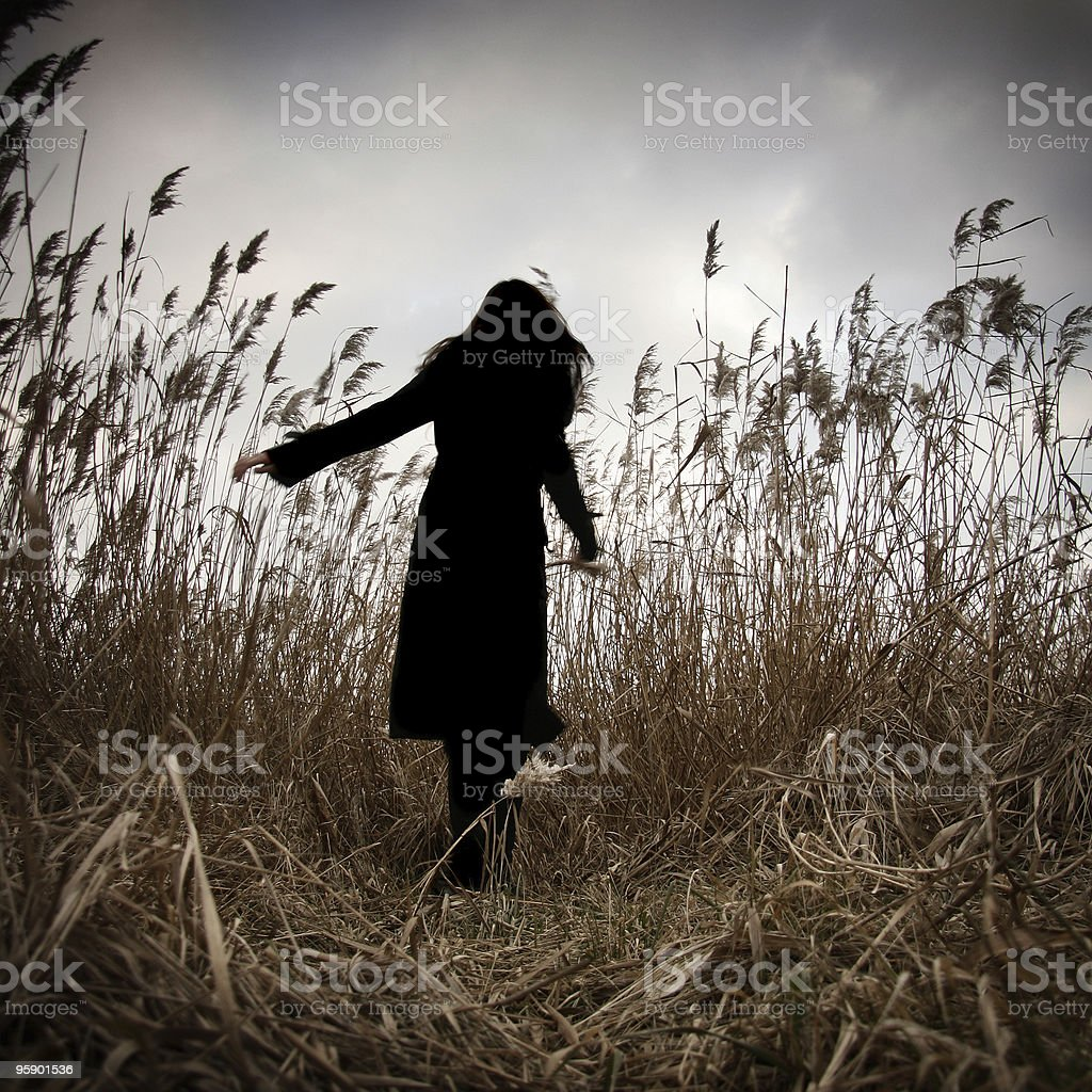 Girl spinning in high grass stock photo