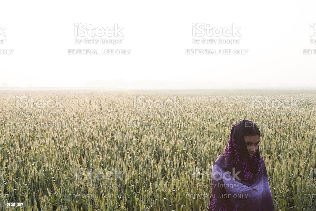 Girl standing in a field early morning Bangladesh stock photo