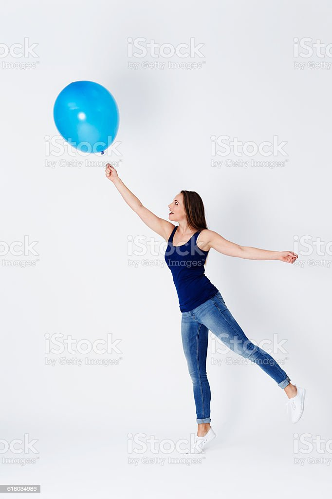 Girl starts to float stock photo