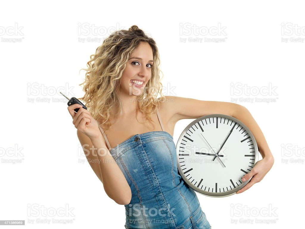 Girl stopping time stock photo