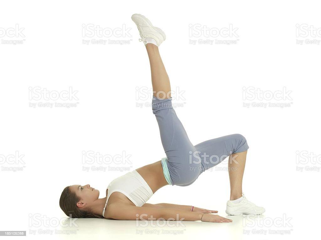 Girl stretching stock photo
