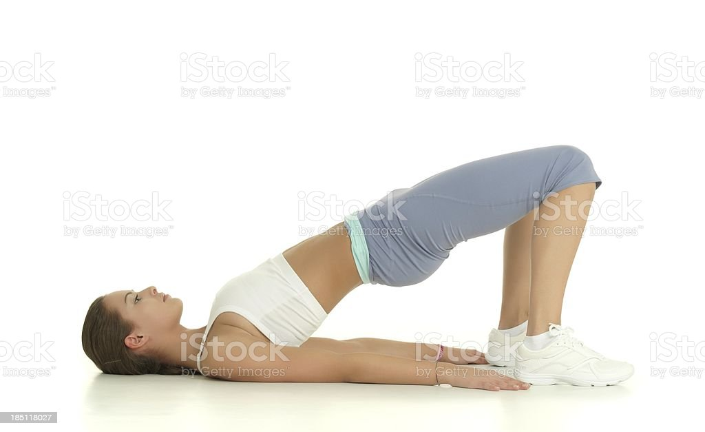 Girl stretching stock photo